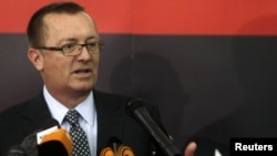 Jeffrey Feltman, the U.S. assistant secretary of state for Near Eastern affairs, at a news conference during his visit to Benghazi on May 24