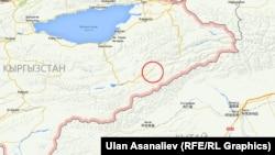 Карта приграничного с Китаем региона Кыргызстана. Кружком обведена местность, где произошла перестрелка между кыргызским пограничным нарядом и неизвестными лицами.