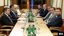 Архивска фотограгија - Скопје- средба на лидерите на СДСМ и на ВМРО-ДПМНЕ Зоран Заев и Христијан Мицкоски, 11.09.2019
