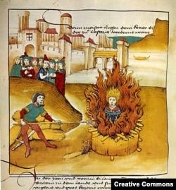 Сожжение Яна Гуса в Констанце. Иллюстрация из хроники конца XV века