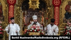 Празднование Пасхи в Михайловском Златоверхом соборе, архивное фото