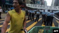 Эпизод противостояния в последние недели на улицах Гонконга