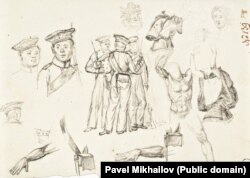 Bits and pieces of Russian sailors from the expedition as drawn by Mikhailov