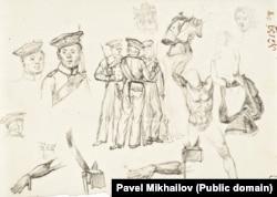 Русские моряки в набросках Михайлова.