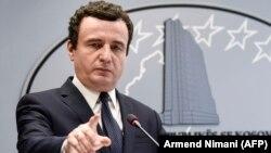 Kosovar Prime Minister Albin Kurti speaks during a press conference in Pristina on February 26.