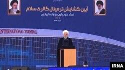 حسن روحانی در مراسم افتتاحیه پایانه مسافربری سلام در فرودگاه امام خمینی در روز سه شنبه، ۲۸ خرداد،