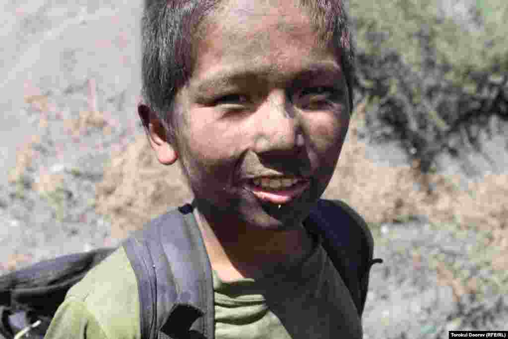 Nurbek, 11, is one of dozens of children working in the Sulukta coal mine in southern Kyrgyzstan.