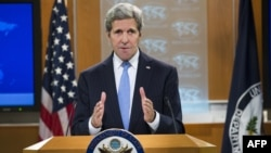 U.S. -- US Secretary of State John Kerry speaks during a press briefing at the State Department in Washington, January 7, 2016