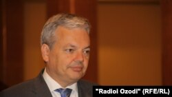 Tajikistan,Dushanbe city, the minister for foreign affairs of Belgium Didier Reynders during prees conference in Dushanbe,4May2012
