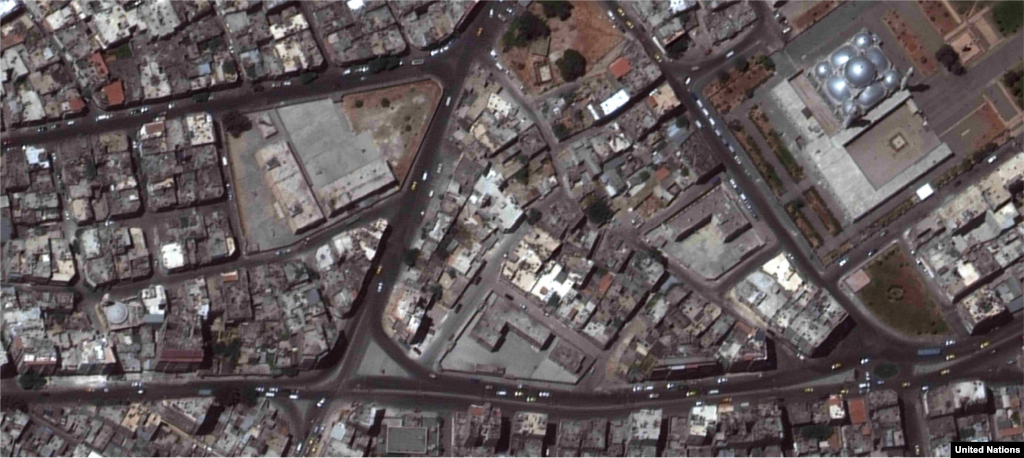 Al-Hamidiyahneighborhood, Homs 2010-2014 The area around the Khalid ibn Al-Walid mosque (pictured top right) has been the target of numerous attacks since the Syrian conflict began.