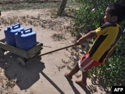 Парагвайский мальчик тащит тачку с канистрами с водой. Чако, 19 ноября 2009 года.