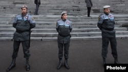 Armenia - Riot police guard the main entrance to Yerevan State University during an opposition protest against official results of the February 18 presidential election, 28Feb2013.