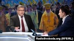 Ростислав Павленко із Віталієм Портниковим (обоє у санкційному списку Росії) у прямому ефірі Радіо Свобода. 18 жовтня 2018 року