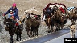 Қыстауға көшіп бара жатқан қазақ отбасы. Шыңжаң, Қытай, 23 қазан 2010 жыл. (Көрнекі сурет)