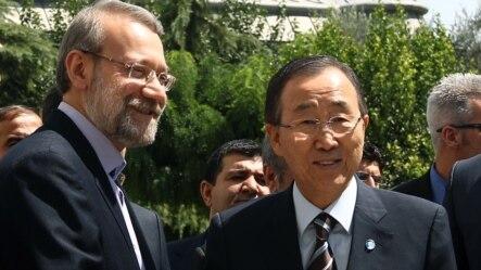 Predsjedavajući Parlamenta Irana Ali Larijani i generalni sekretar UN Ban Ki-Moon, Teheran, 29. avgust 2012.