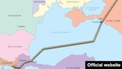 Планований маршрут «Турецького потоку» за версією «Газпрому»