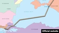 Планируемый маршрут «Турецкого потока» по версии «Газпрома». На карте Крым обозначен российской территорией, что противоречит международному законодательству.