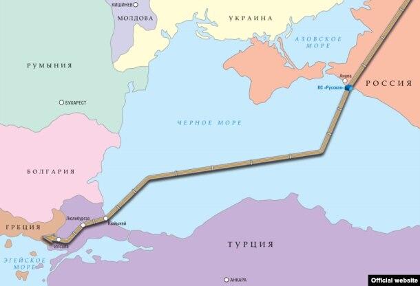 """Запланированная трасса газопровода """"Турецкий поток"""""""