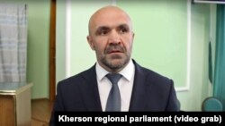 Vladyslav Manher, the head of the Kherson regional parliament, could face life in prison.