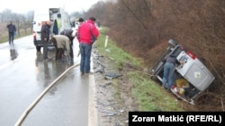 The driver of the car, a Volkswagen Polo, died in the accident.