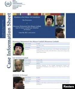 Muammar Qaddafi, njegov sin Saif al-Islam i Abdullah Al-Senussi na potjernici Interpola iz juna 2011.