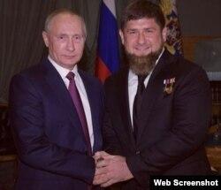 Rusiya prezidenti Vladimir Putin və Ramzan Kadırov (Arxiv)