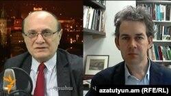 Директор Армянской служба Радио Свобода Грайр Тамразян (слева) и ведущий аналитик вашингтонского Фонда «Карнеги» Томас де Ваал