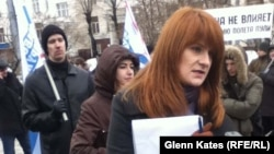 Maria Butina (right) in Moscow in December 2012
