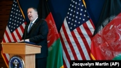 U.S. Secretary of State Mike Pompeo speaks during a news conference at the U.S. Embassy during an unannounced visit to Kabul, June 25, 2019