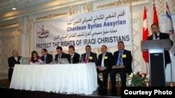 جانب من جلسات المؤتمر الشعبي الكندي لحماية حقوق المسيحيين في العراق.