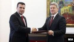 SDSM leader Zoran Zaev (left) and Macedonian President Gjorge Ivanov