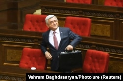 Serzh Sarkisian in parliament in Yerevan on April 17