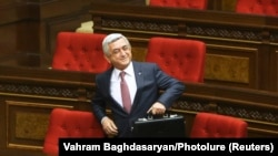 ARMENIA -- Armenia's former President Serzh Sarkisian attends a session of the parliament in Yerevan, April 17, 2018