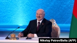 Belarusian President Alyaksandr Lukashenka made his remarks at a televised press conference in Minsk on March 1.