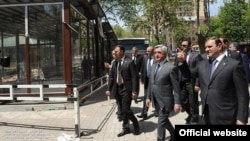 Armenia -- President Serzh Sarkisian visits Mashtots Park in Yerevan, 1May2012.