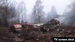 Архивска фотографија: Урнатиот авион на поранешниот полски претседател Лех Качински.