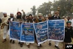 Акция в поддержку обвиняемых в терактах во Франции. Пакистан, 8 января