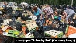 Люди ищут уцелевшие фрукты, подлежавшие уничтожению, в Смоленской области.