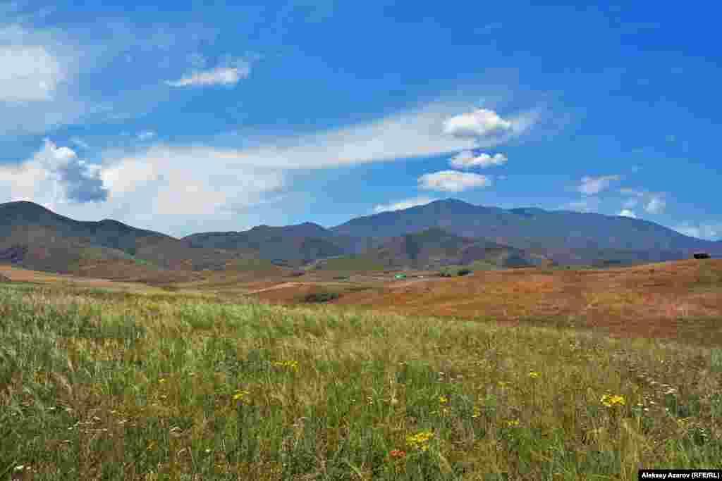 В двух с половиной километрах от села Кастек в Жамбылском районе Алматинской области в эпоху Средневековья находился город. На фото – горная гряда Жетыжол (Семь Дорог) с выделяющейся горой Суыктобе (Холодная гора), у подножия которой он стоял. От этой местности до Алматы – ближайшего крупного города – 90 километров.