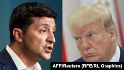 Ukrainian President Volodymyr Zelenskiy (left) and U.S. President Donald Trump