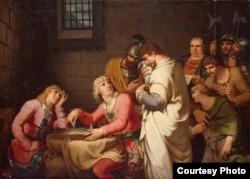 """Иоганн Генрих Вильгельм Тишбейн. """"Конрадин и Фридрих Баденский в ожидании приговора"""". 1785"""