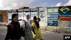 بخشی از دیوار حائل در قلب کرانه باختری، شهر الخلیل