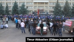 A scene from Karakol this week, when protesters allegedly tried to take a government official hostage.