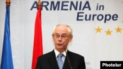 Armenia - European Union President Herman Van Rompuy addresses a civic forum in Yerevan, 4Jul2012.