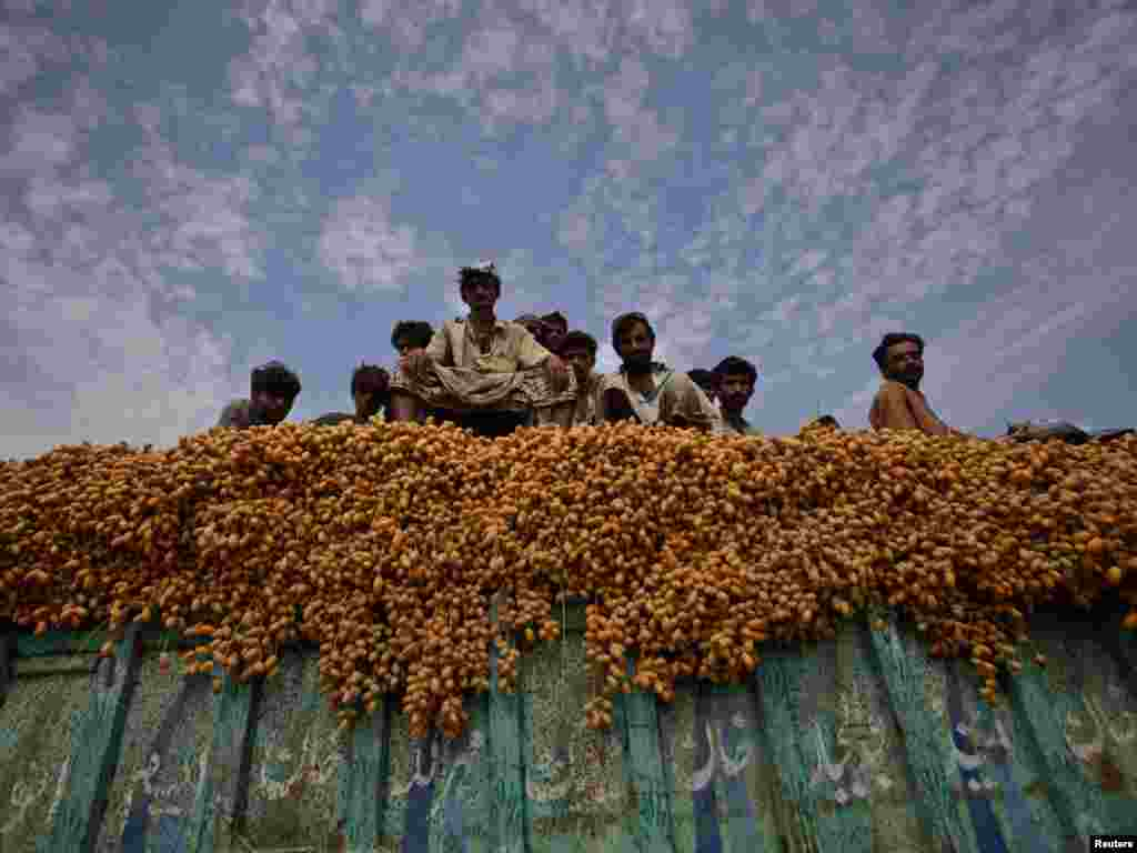 Laborers sit atop a truck full of fresh dates as they transport them to Sukkur, in Pakistan's Sindh Province, on July 26. Photo by Akhtar Soomro for Reuters