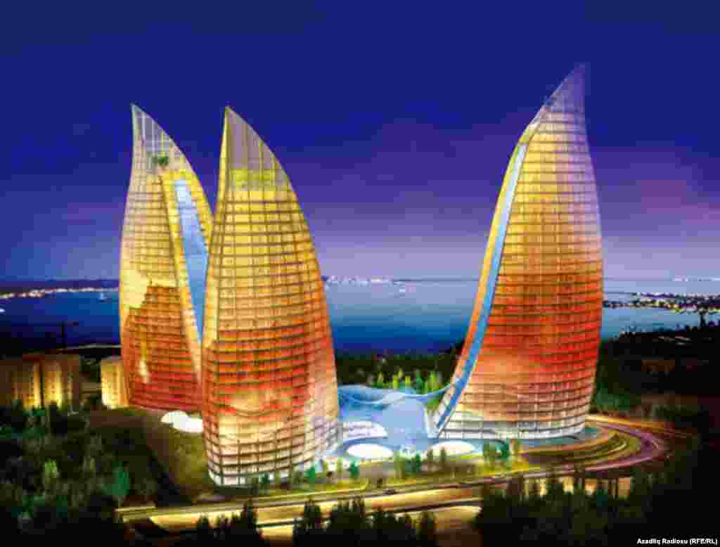 Baku's Flame Towers -- which will offer views of the Caspian Sea -- are due to be completed in April 2012.