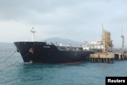 The Iranian tanker ship Fortune is seen at the El Palito refinery dock in Puerto Cabello, Venezuela, on May 25.