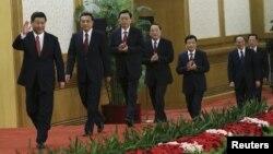Солдан оңға қарай: Си Цзиньпин, Ли Кэцян, Чжан Дэцзян, Ю Чжэншен, Лю Юньшань, Ван Цишань, Чжан Гаоли. Бейжің, 15 қараша 2012 жыл.