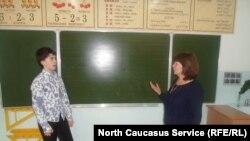 Урок математики в школе №6 в городе Каспийске, Дагестан