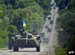 Колонна украинской техники идет на Донецк.